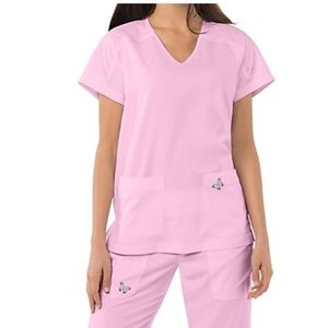 Koi Mariposa Medical Scrub Set Pink Sachet New